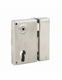 Boitier de serrure verticale en applique double entrée à fouillot pour portail, droite, axe 45mm, 73x125mm, inox - THIRARD Se...