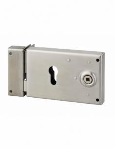 Boitier de serrure horizontale en applique double entrée à fouillot pour portail, gauche, axe 52mm, 140x88mm, inox - THIRARD ...