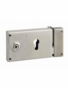 Boitier de serrure horizontale en applique double entrée à fouillot pour portail, droite, axe 52mm, 140x88mm, inox - THIRARD ...