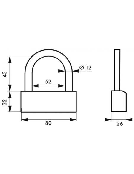 Cadenas à clé Nautic, laiton, intérieur, anse acier, 80mm, 3 clés - THIRARD Cadenas