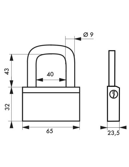 Cadenas à clé Nautic, laiton, extérieur, anse laiton, 65mm, 3 clés - THIRARD Cadenas