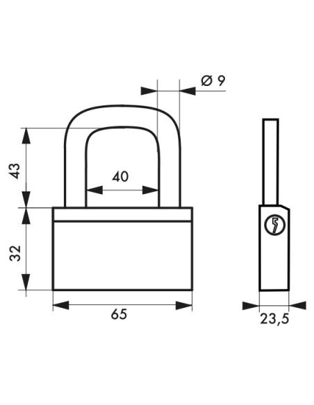 Cadenas à clé Nautic, laiton, extérieur, anse acier, 65mm, 3 clés - THIRARD Cadenas