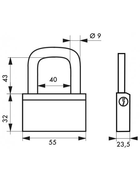 Cadenas à clé Nautic, laiton, intérieur, anse acier, 55mm, 3 clés - THIRARD Cadenas