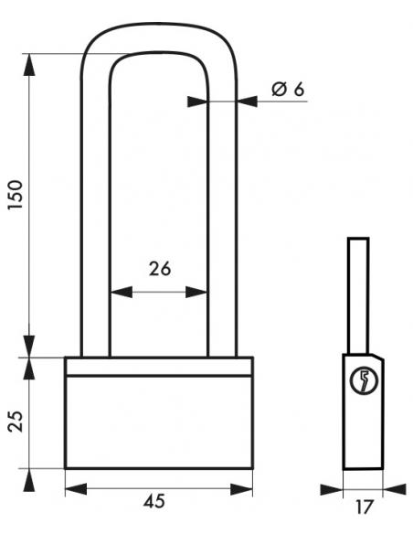 Cadenas à clé Nautic, laiton, extérieur, anse haute laiton, 45mm, 3 clés - THIRARD Cadenas