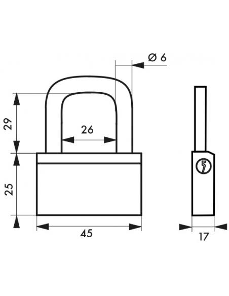 Cadenas à clé Nautic, laiton, extérieur, anse laiton, 45mm, 3 clés - THIRARD Cadenas