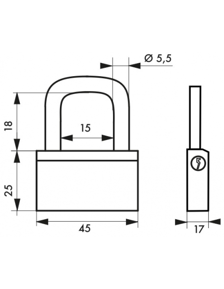 Cadenas à clé Nautic, laiton, intérieur, anse acier, 45mm, 3 clés - THIRARD Cadenas