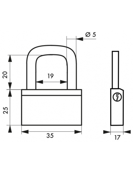 Cadenas à clé Nautic, laiton, extérieur, anse laiton, 35mm, 3 clés - THIRARD Cadenas