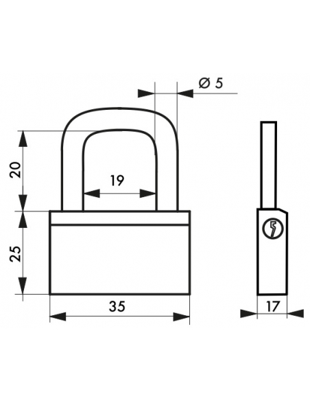 Cadenas à clé Nautic, laiton, intérieur, anse acier, 35mm, 3 clés - THIRARD Cadenas