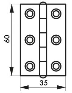 Charnière de porte, 60x35mm, inox 309 - THIRARD Equipement