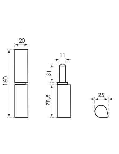 Charnière de porte d'entrée à souder, inox, inox, 160mm, bague laiton - THIRARD Equipement