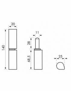 Charnière de porte d'entrée à souder, inox, 140mm, bague laiton - THIRARD Equipement