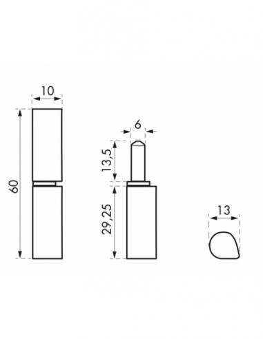 Charnière de porte d'entrée à souder, inox, inox, 60mm, bague laiton - THIRARD Equipement