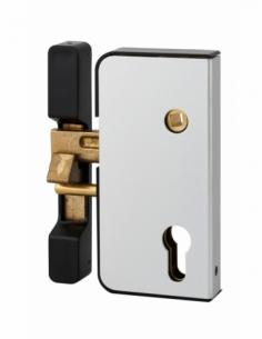 Boitier de serrure verticale en applique double entrée à fouillot pour portail, gauche, axe 50mm, 71x145mm, argent - THIRARD ...