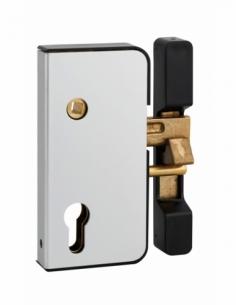 Boitier de serrure verticale en applique double entrée à fouillot pour portail, droite, axe 50mm, 71x145mm, argent - THIRARD ...