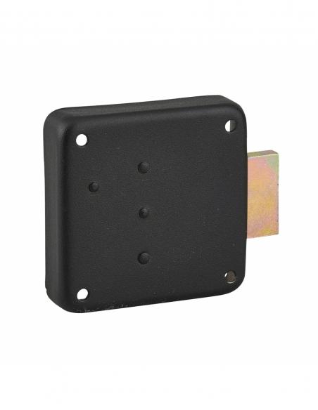 Serrure de meuble en applique pour porte d'ameublement, droite, axe 40mm, 70x70mm, noir, 3 clés - THIRARD Serrure de meuble