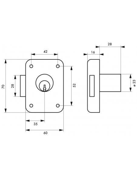 Serrure de meuble en applique pour porte d'ameublement, gauche, axe 35mm, 70x60mm, noir, 3 clés - THIRARD Serrure de meuble