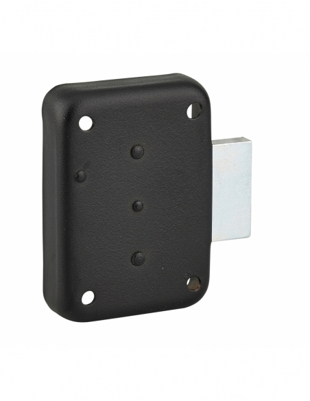 Serrure de meuble en applique pour porte d'ameublement, droite, axe 25mm, 70x50mm, noir, 3 clés - THIRARD Serrure de meuble