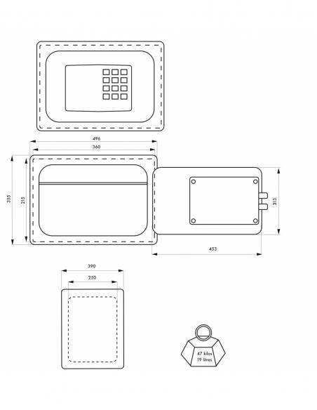 Coffre fort ignifugé à poser Vauban, fermeture électronique à code, 2 pênes, 19L - THIRARD Coffre fort