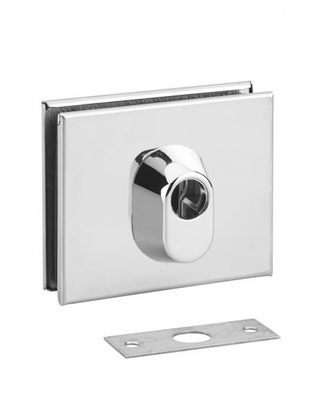 Boitier de serrure basse en applique à double entrée pour porte en verre, réversible, 106x87mm, chromé - THIRARD Poignée