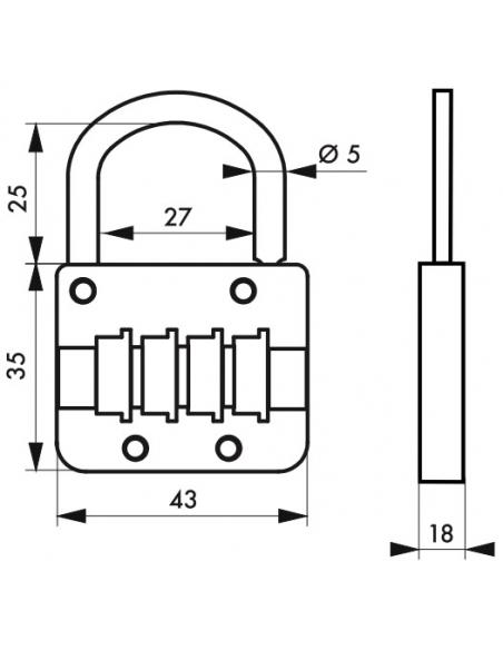 Cadenas à combinaison M54, 4 chiffres, intérieur, 43mm - THIRARD Cadenas
