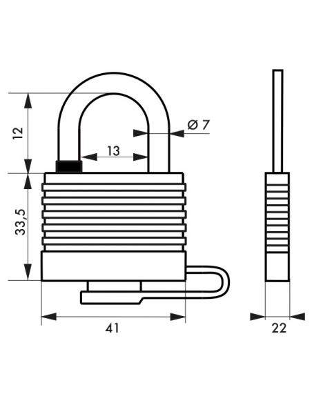 Cadenas à clé Fédéral Lock Sea Line, laiton, extérieur, anse inox, 35mm, 2 clés - THIRARD Cadenas