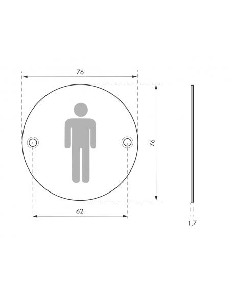 Disque de signalisation WC Homme , à visser, inox brossé, marquage noir, Ø76mm - THIRARD Equipement