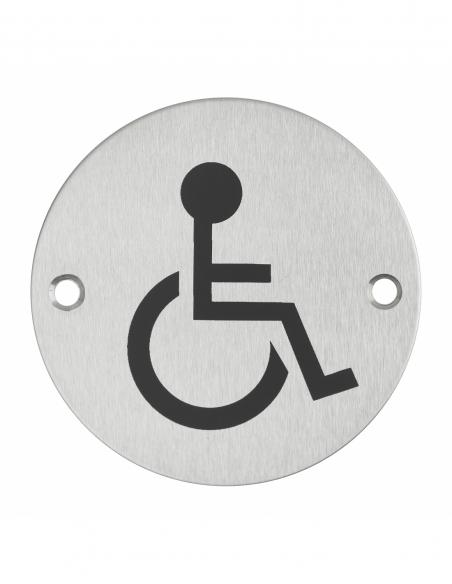 Disque de signalisation WC Handicapé , à visser, inox brossé, marquage noir, Ø76mm - THIRARD Equipement