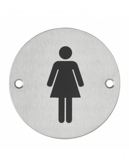 Disque de signalisation WC Femme , à visser, inox brossé, marquage noir, Ø76mm - THIRARD Equipement