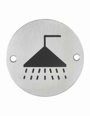 Disque de signalisation Douche , à visser, inox brossé, marquage noir, Ø76mm - THIRARD Equipement