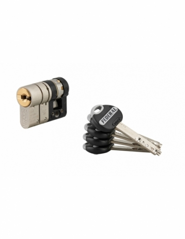 Demi-cylindre de serrure Federal 2, 32x10mm, nickel, anti-arrachement, anti-perçage, 5 clés - THIRARD Cylindre de serrure