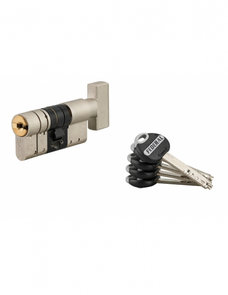 Cylindre de serrure à bouton Federal 2, 32Bx32mm, nickel, anti-arrachement, anti-perçage, 5 clés - THIRARD Cylindre de serrure