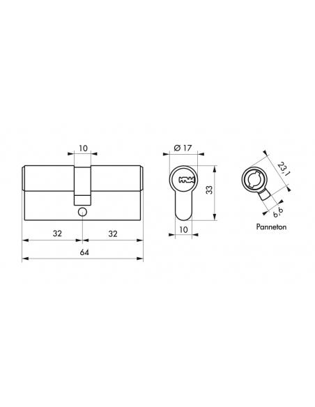 Cylindre de serrure double entrée Federal 2, 32x32mm, nickel, anti-arrachement, anti-perçage, 5 clés - THIRARD Cylindre de se...