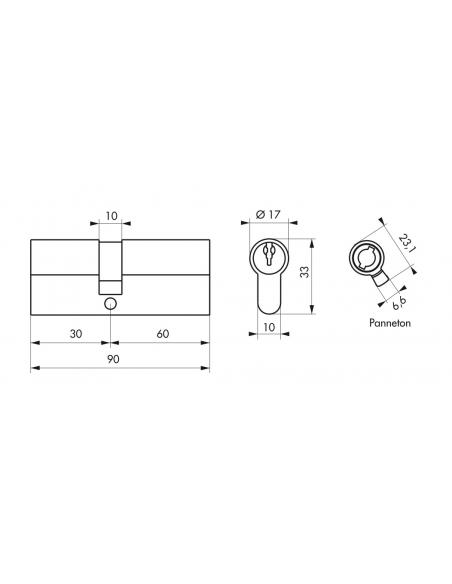 Cylindre de serrure double entrée, 30x60mm, anti-arrachement, nickel, 3 clés - THIRARD Cylindre de serrure