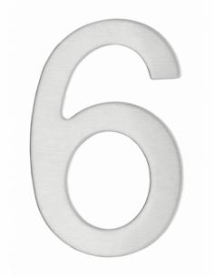 Chiffre 6 adhésif, inox, H.76mm - THIRARD Signalétique