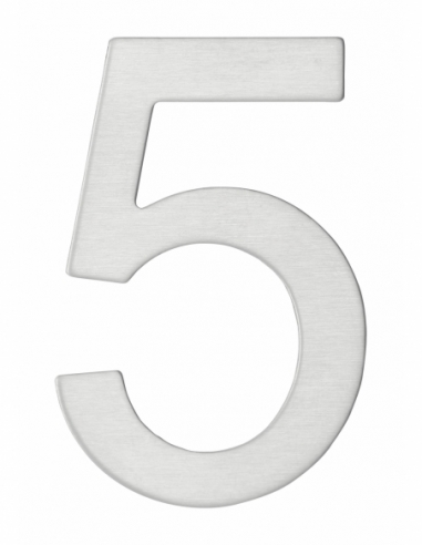 Chiffre 5 adhésif, inox, H.76mm - THIRARD Signalétique