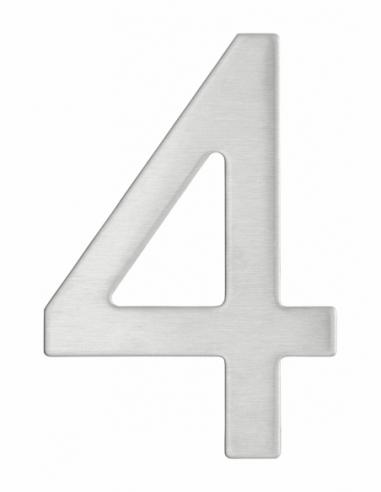 Chiffre 4 adhésif, inox, H.76mm - THIRARD Signalétique
