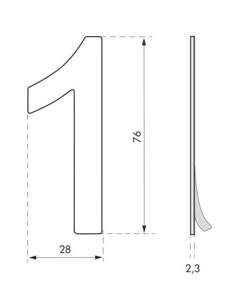 Chiffre 1 adhésif, inox, H.76mm - THIRARD Signalétique