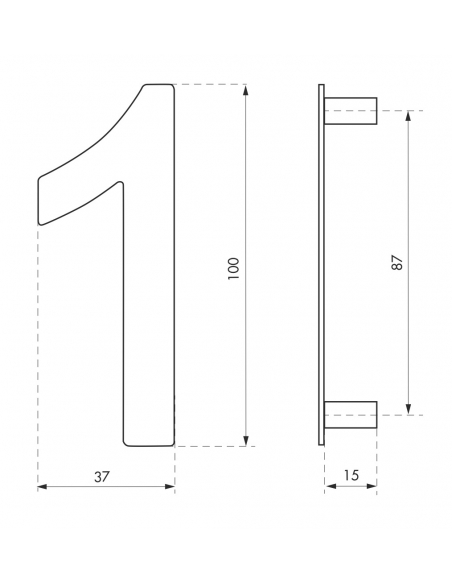 Chiffre 1 à visser, inox, H.100mm - THIRARD Signalétique