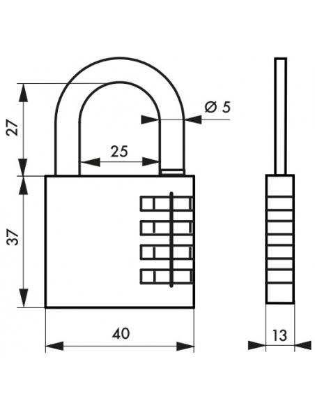 Cadenas à combinaison Venus, 4 chiffres, intérieur, anse acier, 40mm - THIRARD Cadenas