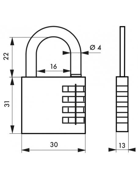 Cadenas à combinaison Venus, 3 chiffres, intérieur, anse acier, 30mm - THIRARD Cadenas