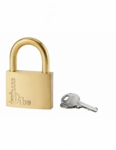 Cadenas à clé Type 1, laiton, extérieur, anse laiton, 70mm, 2 clés - THIRARD Cadenas