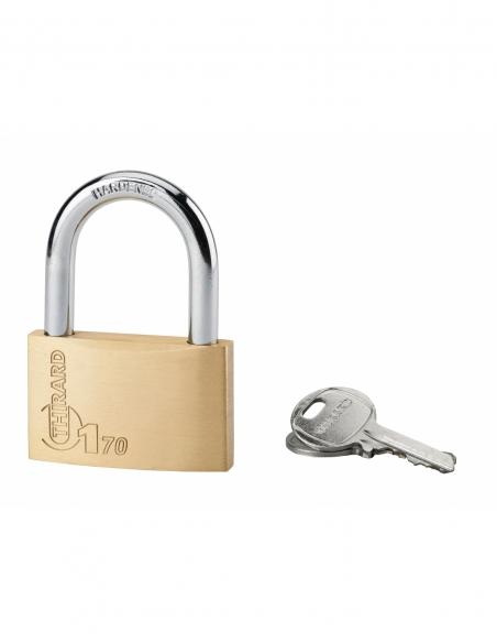 Cadenas à clé Type 1, laiton, intérieur, anse acier, 70mm, 2 clés - THIRARD Cadenas