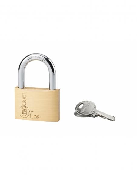 Cadenas à clé Type 1, laiton, intérieur, anse acier, 60mm, 2 clés - THIRARD Cadenas