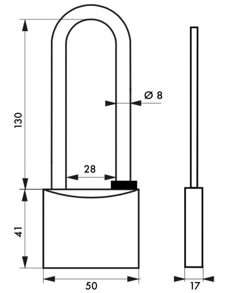 Cadenas à clé Type 1, extérieur, laiton chromé, anse haute, 50mm, 2 clés - THIRARD Cadenas