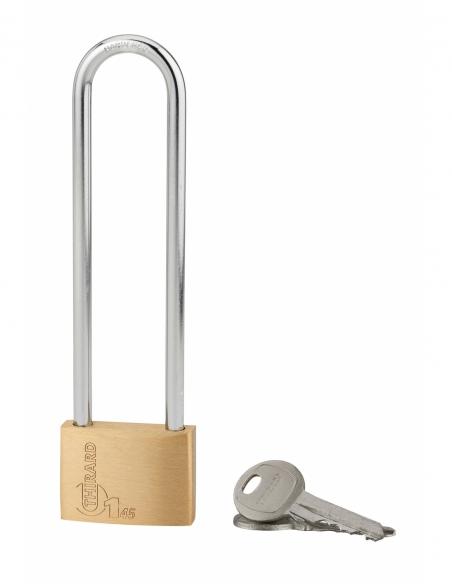 Cadenas à clé Type 1, intérieur, laiton, anse haute acier, 45mm, 2 clés - THIRARD Cadenas