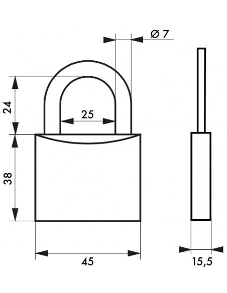 Cadenas à clé Type 1, intérieur, laiton, anse acier, 45mm, 2 clés - THIRARD Cadenas