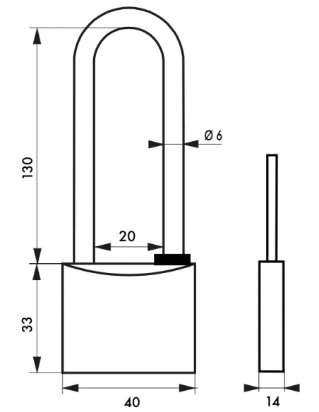 Cadenas à clé Type 1, laiton, extérieur, anse haute inox, 40mm, 2 clés - THIRARD Cadenas