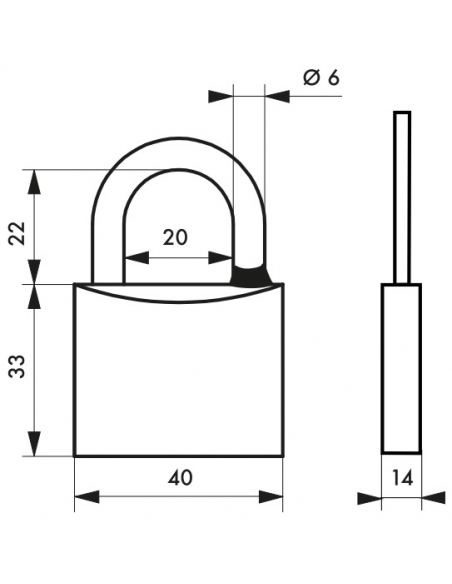 Cadenas à clé Type 1, laiton, extérieur, anse inox, 40mm, 2 clés - THIRARD Cadenas