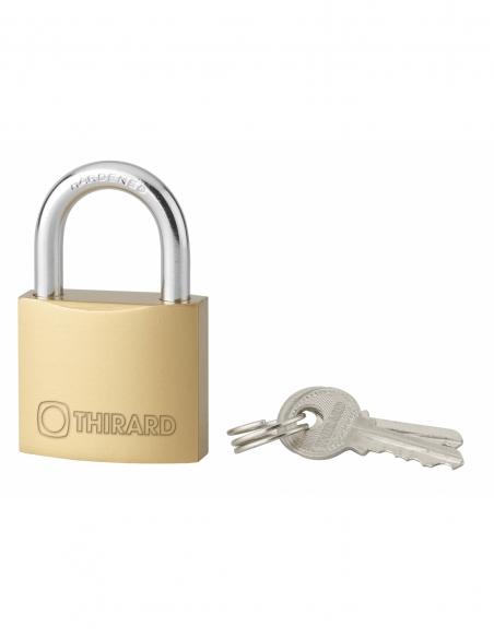 Cadenas à clé Type 1, laiton, intérieur, anse acier, 35mm, 2 clés - THIRARD Cadenas