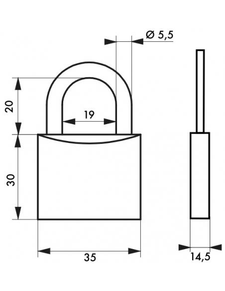 Cadenas à clé Type 1+, laiton, intérieur, anse acier, 35mm, 2 clés - THIRARD Cadenas